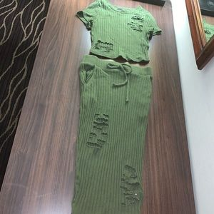 Two piece olive green skirt set